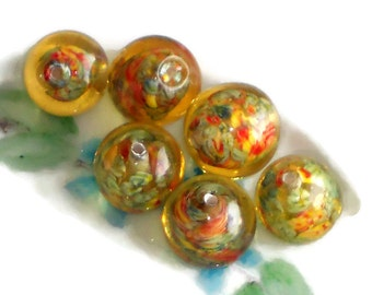 Lampwork beads, Lamp Work Beads,Vintage glass beads millefiori Shabby Yellow Lampwork 13mm speckled boho NOS (#636) Cottage Chic