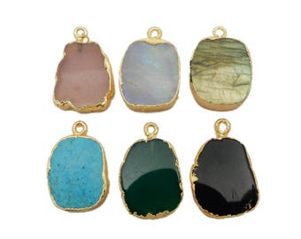 Gemstone Freeform Nugget Pendant with Electroplated 24k Gold Edge (S1B27)