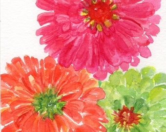 Zinnias Watercolor Painting original, Small floral art pink, orange, lime green zinnias watercolor paintings, Zinnia art decor, flowers