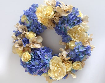 Silk Flower Wreath with Hydrangea and Peony in Blue Cream and Yellow, 15 Inch