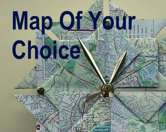 1st Year Anniversary Gift Idea - Customized Origami Map Wall Clock - Map Of Your Choice - Large