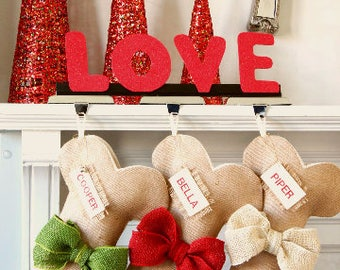 Ready to ship Personalized Christmas Stocking, Burlap Carrot Stocking, Colorful, Made with Love!