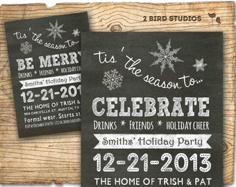 Christmas party invitation - holiday party invitation - Holiday party invite - chalkboard invitation - eat drink be merry