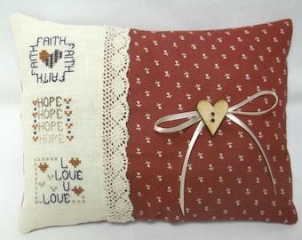 Faith Hope Love Cross Stitch Mini Pillow, Christian Mini Pillow, 1 Corinthians 13.