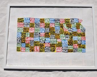 Kansas Map Wall Art | KS poster | acrylic painting | home decor, map of Kansas