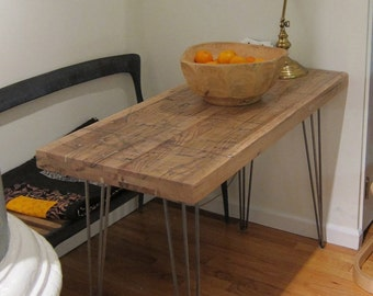 Small Kitchen Table - Reclaimed Oak - Hairpin Legs