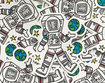 3 Astronaut Vinyl Stickers - by Moon Moppets
