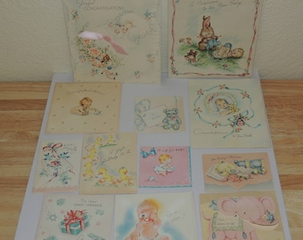 12 Vintage Baby Shower and Birth Cards