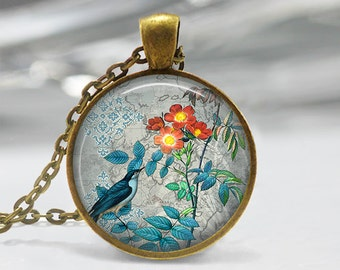 Rose Art Pendant, Rose Jewelry, Old Garden Roses Pendant, Blue Bird Necklace, Bird Jewelry, Rose Pendant, Bronze Silver, Vintage Bird 371