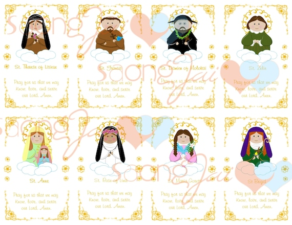 Cute Saint Holy Cards Printable Download
