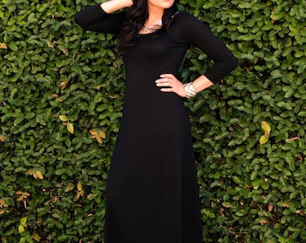 Plus Size Dress - Long Black Dress - Loose Winter Dress - Ladies Dress - Scoop Neck Maxi Dress - 3/4 Sleeves - Petite and Tall Dresses