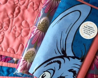 """Complete Baby Quilt Kit - Horton Hears a Who panel by Dr. Suess with coordinating fabrics - 2 2/3 yds total - finished quilt size 40"""" x 36"""""""