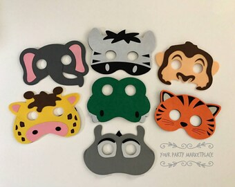 SET OF 7 Safari Party Masks, Safari Party Favors, Zoo Animal Party Favors, Zoo Animal Party, Kids Animal Masks, Zoo Animal Birthday,