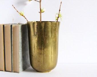 """Vintage Sarreid Brass Vase - 8"""" Tall Flower Vase - Brass Wine Cooler - Brass Home Decor - Made in Korea - Hollywood Regency - Fluted Vase"""
