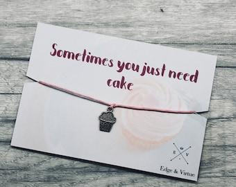 Cake Gift Cake lover Gift Best Friend Gift Friendship Wish Bracelet birthday gift birthday cake gift