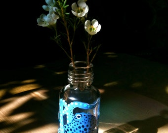 Hand Painted Glass Light Blue Octopus Tiny Bud Vase