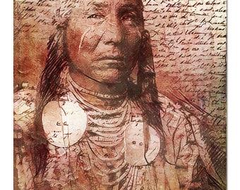Fine Art Print of 'Empty Words'. Native American Indian. Calligraphy, warrior, male portrait, American West, wall decor. JoWalshArt