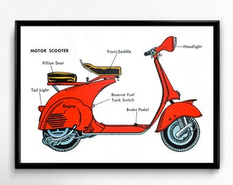 1950's Motor Scooter Diagram - Encyclopedia Illustration