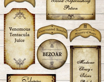 Harry Potter editable potions labels printable - wizard tags, PDF FILES - 51 editable vintage Potions labels for Harry Potter Party decor