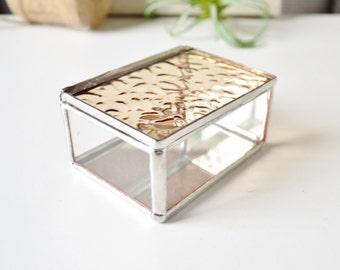 Wedding Ring Box  Small Ring Bearer Box Silver Tone Finish Glass Display Box Small Jewelry Box  Wedding Gift Box