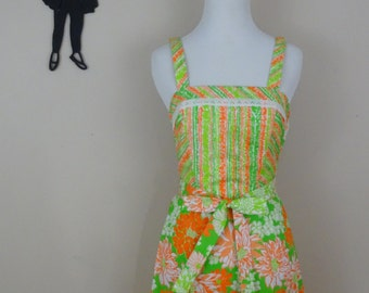Vintage 1960's Floral Dress / 60s Neon Orange and Green Dress XS  tr
