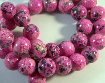 """10 """"reality"""" Fuchsia speckled PV80 5 10 mm glass beads"""