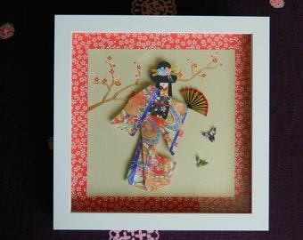 "Japanese paper doll geisha in 9"" x 9"" shadow frame, origami, 3D, hand fan"