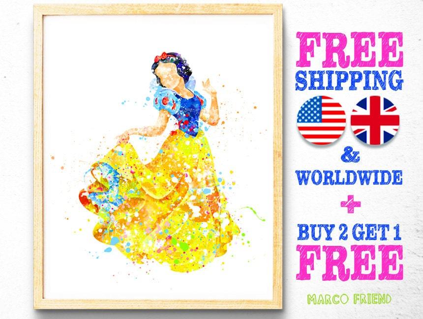 Disney Princess Snow White Watercolor Art Poster Print Home