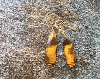 Tiger Eye Single Stone Gold Filled Earrings Talisman Good Luck