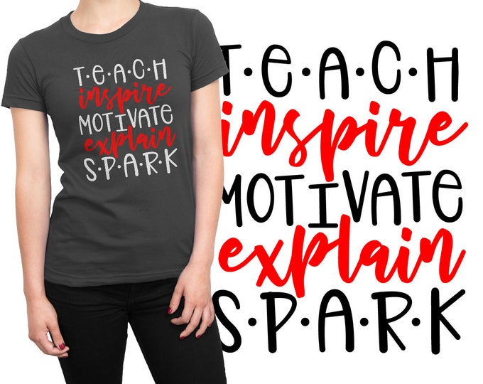 SVG, Teacher, Word Art, Inspire,  School, Teaching, Teach, Gift, Cutting File, Cricut, Silhouette, Shirt Design, Download, Commercial Use