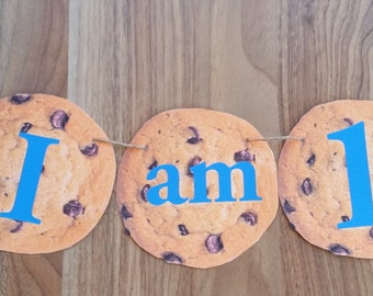 Cookie Monster Custom Made 'I am 1' Smash Cake Photo Shoot Bunting Banner 1st First Birthday Decoration