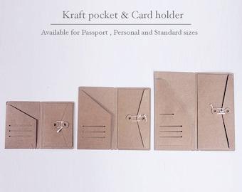 Kraft Card Holder for Midori Travelers Notebook | Kraft card holder pocket