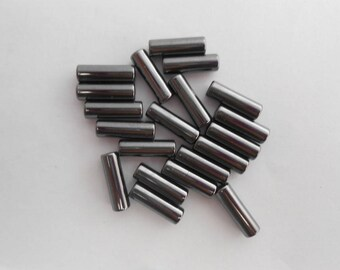 5 natural Hematite beads form column 13 x 4 mm. (9273492)