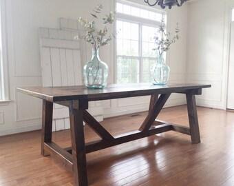 Rustic Farmhouse Table -- Solid Wood, Handmade