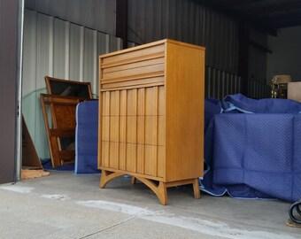 Vintage 1960's Modern Highboy Mid Century Dresser Walnut Finish Sculpted Wood Pulls MCM