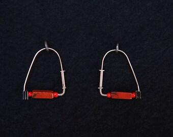 Modern Silver Wire Red Bead Earrings