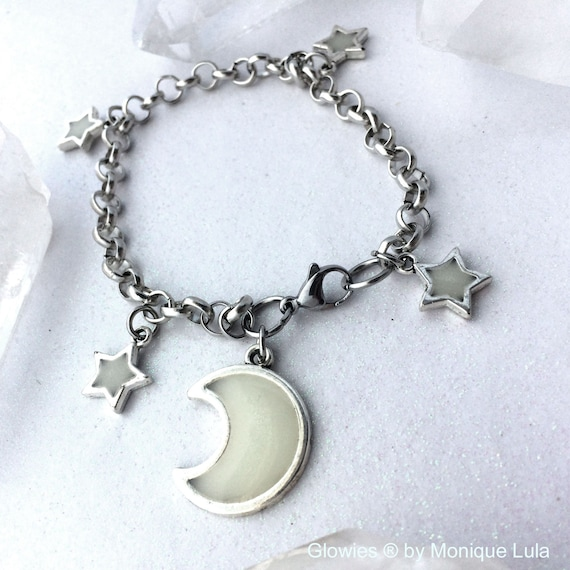Moon Lover Glowing Crescent Moon & Stars Galaxy Link Charm Bracelet