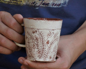 Ceramic Mug-Flower Pattern-Coffee Mug-Tea Cup-Ceramics And Pottery