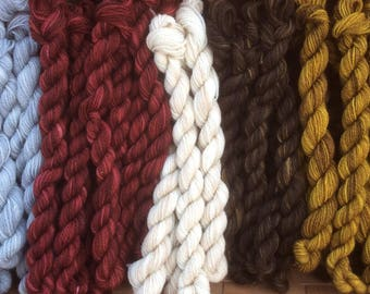 Hand Dyed Lace Weight Wool Yarn -40 yds- Assorted Colors, PLEASE Read Listing