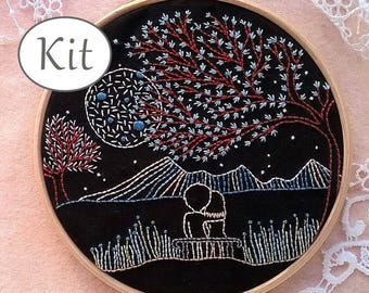 Embroidery kit - hand embroidery kit - beginner embroidery - modern needlecraft kit - needlepoint kits - Valentines day - tutorial