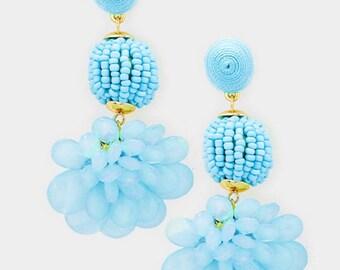 Beaded Ball Flower Dangle Earrings - Blue