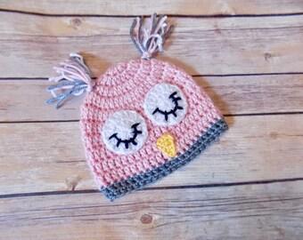 Pink Owl Hat, Baby Girl Hat, Girl Animal Beanie, Micro preemie, preemie, newborn