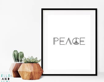 Peace // Love // A4 // A5 // Home Decor // Typography // Black And White // Monochrome //