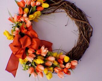 Front Door Wreath,Spring Wreath, Summer Wreath, Tulip Wreath, Yellow Orange Wreath, Year Round Wreath