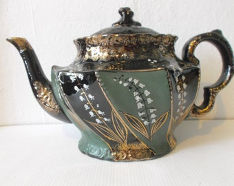 Antique Lily of the Valley Teapot English British Victorian Porcelain High Tea Party Pot Circa 1800s