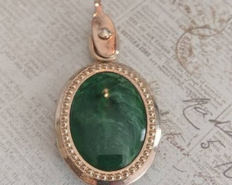 2 sided vintage pendant green and monogramed