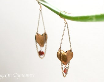 Copper Heart Ruby Earrings-Heart Earrings-Pink Gold Heart Earrings-Ruby Crystal Earrings-Dangle Earrings