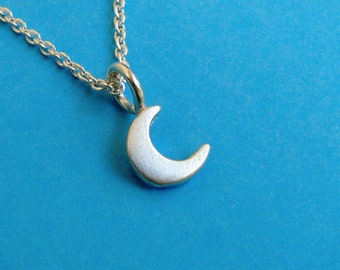 Tiny Crescent Moon Necklace Sterling Silver dainty necklace moon pendant moon charm necklace winter moon bridesmaid charm Birthday gift