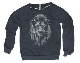 Lion Hand Screen Print Alternative Apparel Eco-Fleece Maniac Sweatshirt S,M,L,Xl 2 Colors