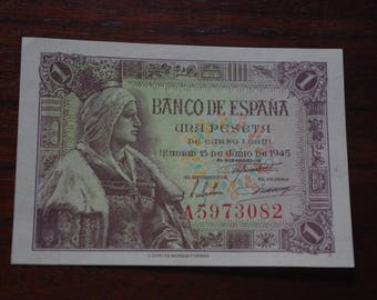 Ticket 1 Peseta from 1945. Uncirculated. Iron. Vintage ticket. Old unused ticket. Notaphily. Collecting. Elisabeth the Catholic.
